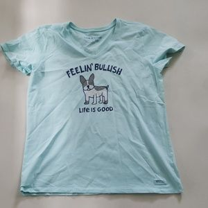 LIFE IS GOOD blue 'feelin bullish' crusher tee